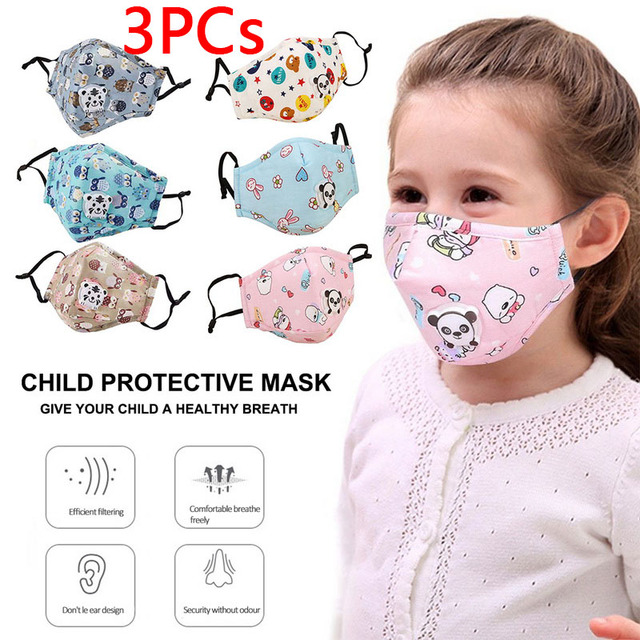 PM2.5 Washable Mouth Mask With Valve Kids Children Anti Haze Dust Mask Nose Filter Face Muffle Bacteria Flu Respirator