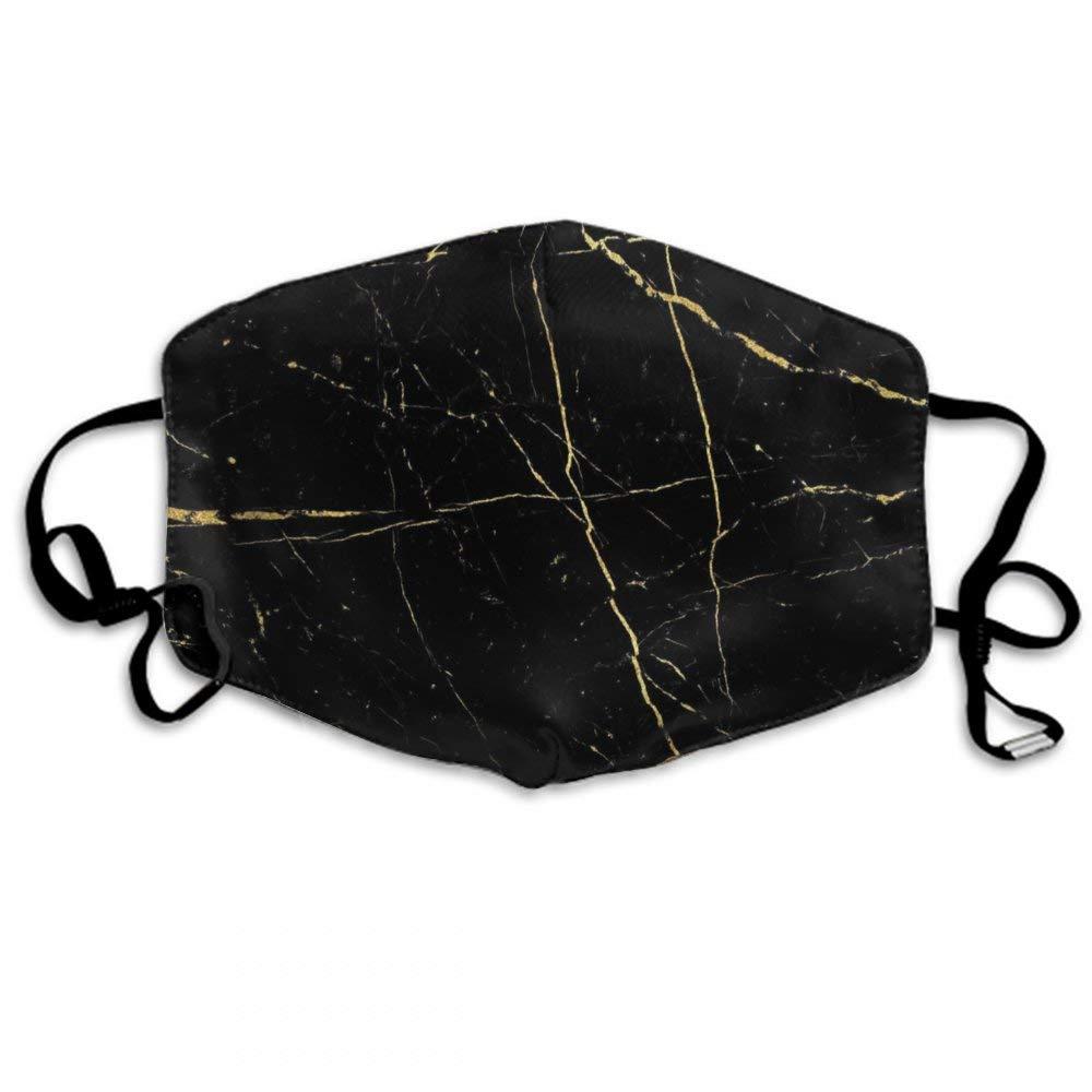 Rose Gold Black Marble Dustproof Earloop Mouth Mask For Women Men, Pollen Ski Painting Half Face Mouth Mask - Adjustable Elastic