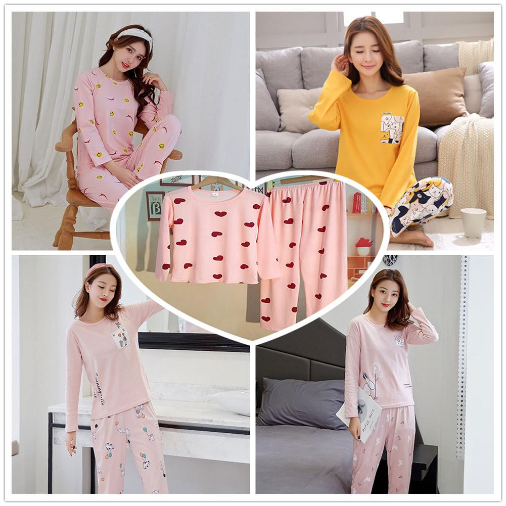 Women Cartoon Pajamas Set Long-sleeved Pajamas Trousers Casual Winter Home Clothing Two Piece Suit