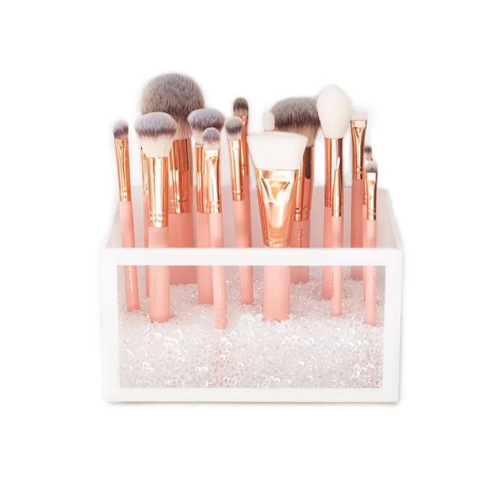 Акриловый держатель кистей для макияжа косметический Органайзер для макияжа аксессуары для кистей белый прозрачный туалетный столик для ванной комнаты