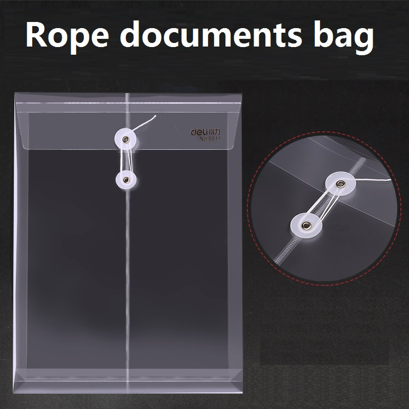 3Pcs Transparent Documents Bag A4 Wrapping Rope File Bag For Business Office File Meeting Folder Students Test Paper Deli 5511