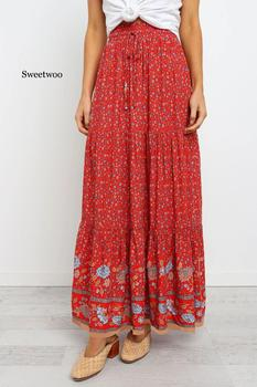 High Waist Long Skirts Womens Boho A-line Full Skirt Floral Print Drawstring Lace-Up Maxi Clothes White 2020 Summer Red Bohemian