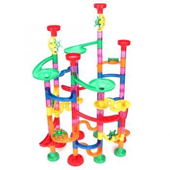 109 sztuk DIY cegły zabawki dla dzieci marmur Race Run Track Block STEM zestaw klocków budowlanych lejek bloki ślizgowe zabawki edukacyjne dla dzieci tanie i dobre opinie Plastic 2-4 lat 5-7 lat 8 ~ 13 Lat Transport Kids Marble Run Toy
