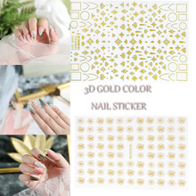 3D Nail Art Sticker Gold silver colorful Circle Geometry Stickers  Adhesive Slider Star Moon Decals Z0221