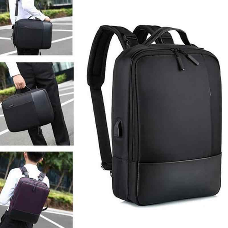 Litthing 2019 Fashion Men School Office Laptop Bag Soft With USB Charging Port Zipper Waterproof Anti-theft Casual Backpack