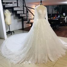 Alonlivn 예배당 기차의 화려한 깊은 V Neckline a 라인 웨딩 드레스 Vestido De Noiva
