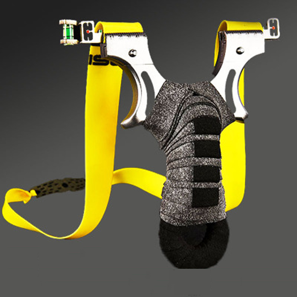 Stainless Steel Slingshot Double Aiming CNC Catapult For Outdoor Hunting Shooting Sport Flat Rubber Band Sling Shot High-quality