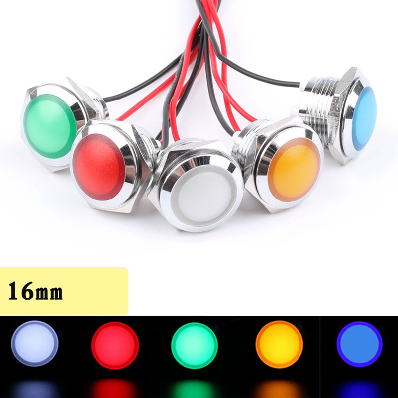 1pcs 16mm Metal Indicator 3V12V24V220V Ultra-short Soft Light LED Waterproof Power Supply Indicator With Connecting Line
