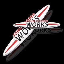 1 pçs adesivos de carro jcw emblema emblema para mini cooper s john cooper obras r50 r52 r53 r55 r56 r57 r58 r59 r60 r61 f55 f56 clubman