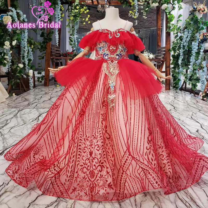 First Communion Dress Red Crystals Beads Pearls Tulle High Quality Lace Flower Girl Dresses Birthday Party Wear For 2-14y Dress
