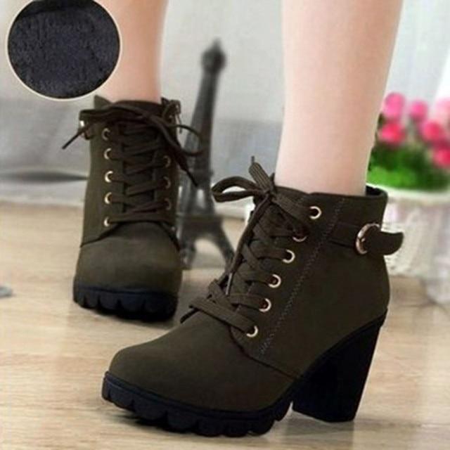 Winter Women Ankle Boots High Chunry Heel Fur Plush Rubber Platform Metal Buckle Zipper Punk Sexy Black Ladies Shoes Botas Mujer 2