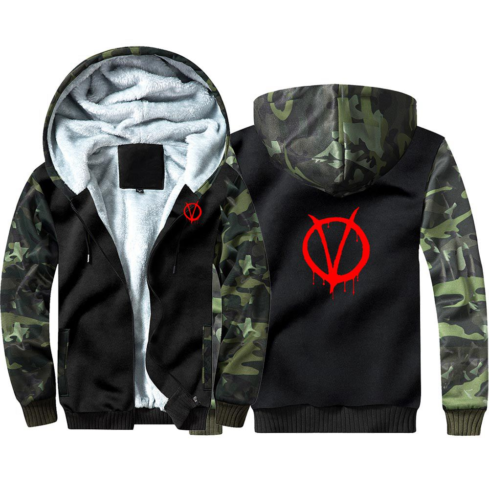 V For Vendetta Camouflage Hoodie Sweatshirts Winter Thicken Hooded Coat Cosplay Costume Warm Men Women Clothing