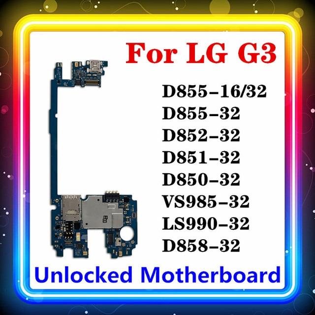 LG G3 D855 anakart Android yüklü 16gb/32gb ile tam orijinal temiz D850 D852 D851 VS985 D858 LS990 ana kurulu
