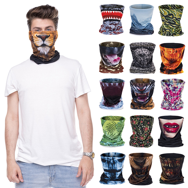 Summer Neck Collar Sun Protection Windproof Cycling Bandana Printed Magic Face Guard Men Women Scarf Breathable Cycling Scarf