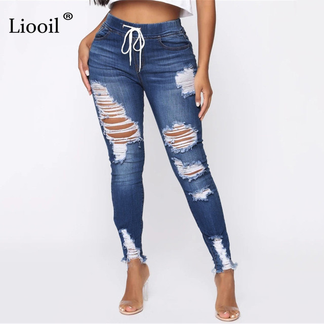 Light Blue Ripped Jeans for Women 2021 Street Style Sexy Mid Rise Distressed Trouser Stretch Skinny Hole Denim Pencil Pants 3