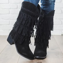 WENYUJH 2019 New Fashion Nation Style Flock Leather Women Fringe High Heelslong Boots Woman Tassel Knee High Boots Size34-43(China)