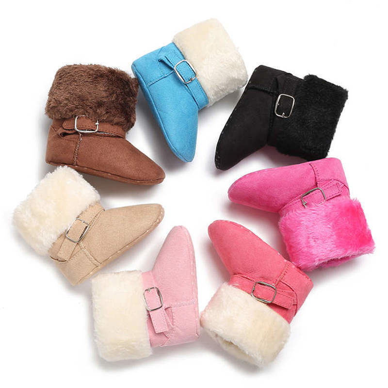 2019 Newborn Winter Warm Fluff Booties Indoor Colours Soft Cotton Sole Non-slip 0-2 Years Toddler Baby Shoes First Walkers Boot