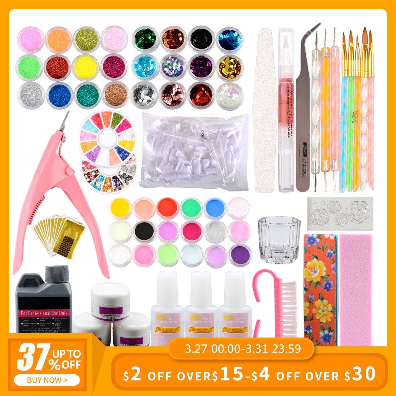 Manicure Acrylic Nail Set Acrylic Powder 3D Tips Glass Cup Nail Brush Crystal Polymer Manicure Tools Set Kit Nail Extension Kits