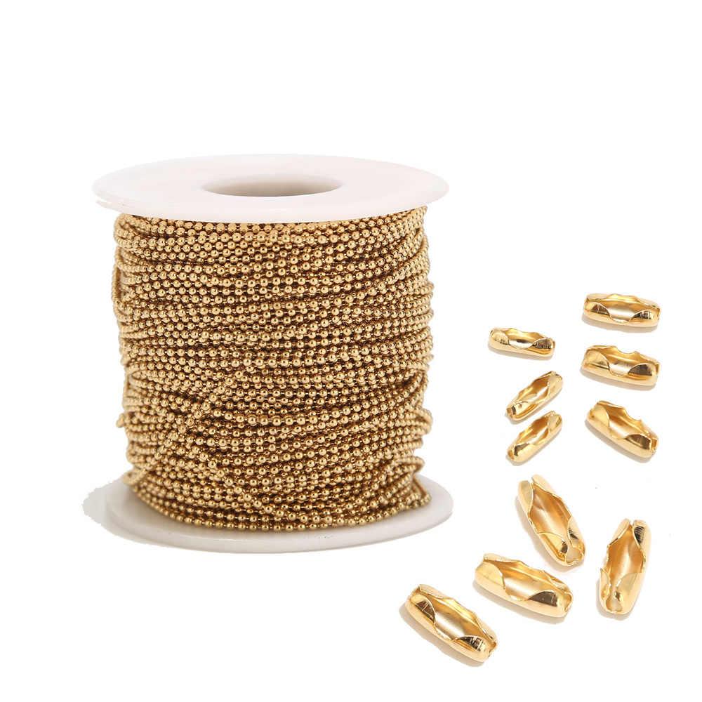 2 m aço inoxidável 1.6mm/2.0mm/2.4mm contas de ouro correntes de bola para homem mulher colar que faz com 10 pces conectores de harmonização