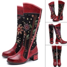 Casual Vintage Ethnic Style Knee-high Boots Genuine Leather Women Knee-high Boots Shoes Woman Female Long Boot Winter Dropship cheap FancyQube Cow Leather Cotton Fabric Round Toe Rubber Fringe Low (1cm-3cm) 0-3cm Solid women s boots winter Fits true to size take your normal size