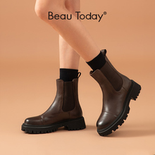 BeauToday Ankle Boots Platform Women Cow Leather Chelsea Boots Round Toe Elastic Band Thick Sole Ladies Shoes Handmade 02379