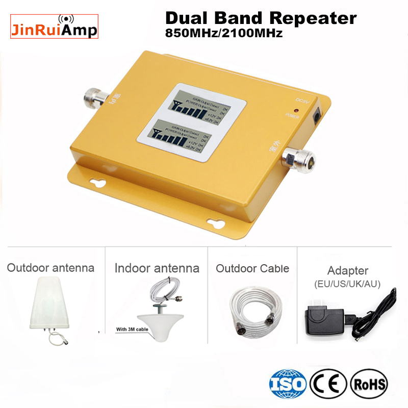 LCD 70db Gain Dual Band 2g 3g/4g Gsm 850 Wcdma 2100 Cellular Phone Signal Booster Repeater With Outdoor Indoor Cellular Antennas