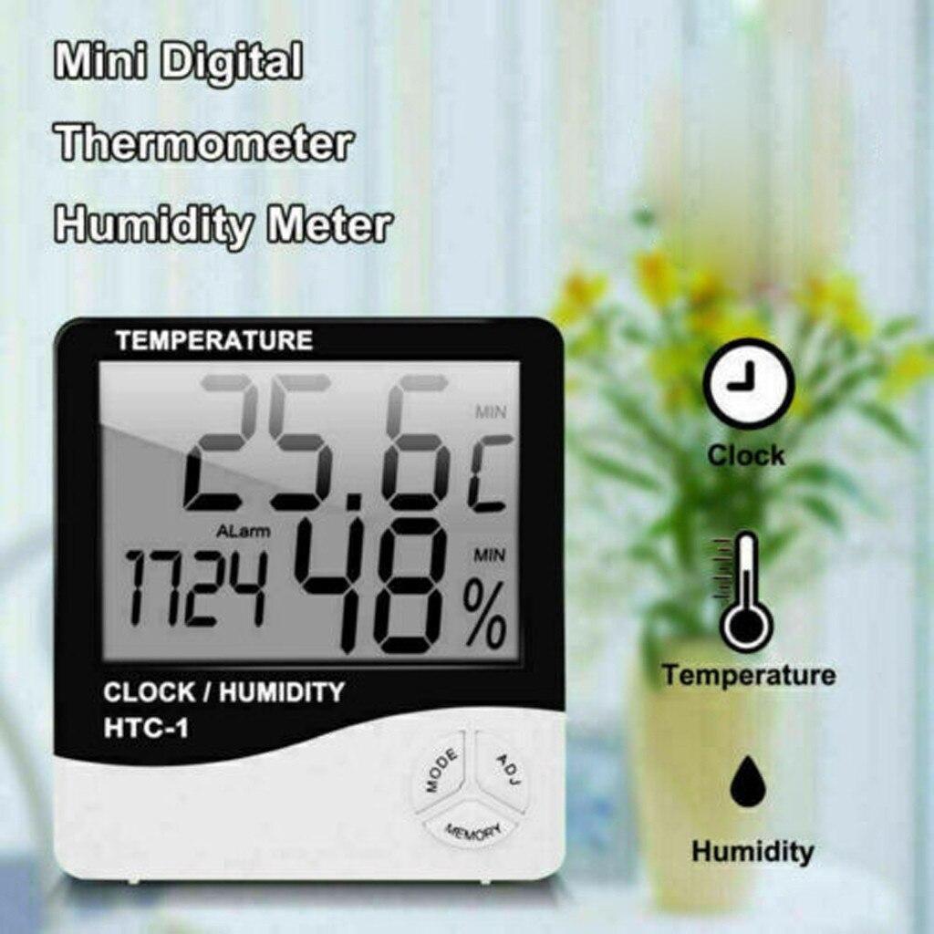 25 # conveniente e versátil casa artefato digital lcd termômetro higrômetro medidor de umidade ambiente relógio de temperatura interior