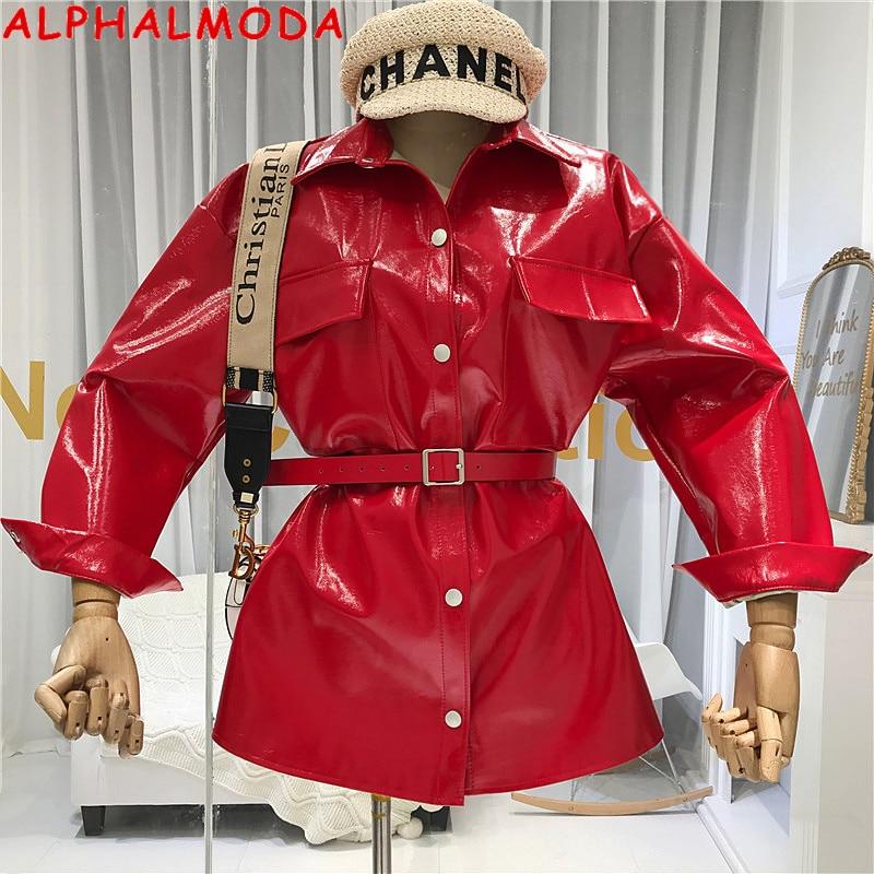 ALPHALMODA Autumn 2019 New Designer's Eye-catching Belt-tied Bright PU Leather Garment Mid-long Coat Women Fashion PU Jacket