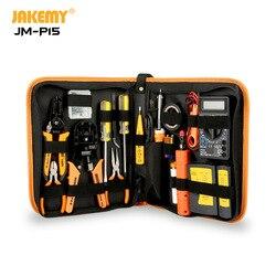 JAKEMY JM-P15 Groothandel Elektriciens Netwerk Schroevendraaier DIY Repair Tool Set Elektrische Tool Kit Soldeerbout Kit