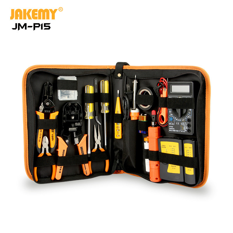 JAKEMY JM-P15 Wholesale Electricians Network Screwdriver DIY Repair Tool Set Electrical Tool Kit Soldering Iron Kit