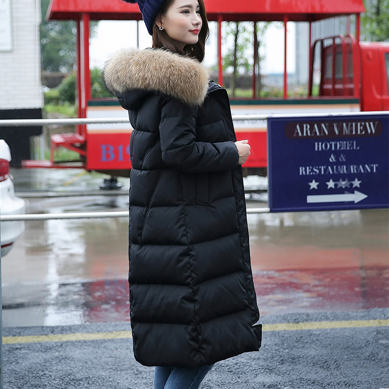 Winter Jacket Women Duck Down Coat 2020 Warm Natural Raccoon Fur Collar Overcoat Female Long Hoody Parka Mujer Abrogo LX2521