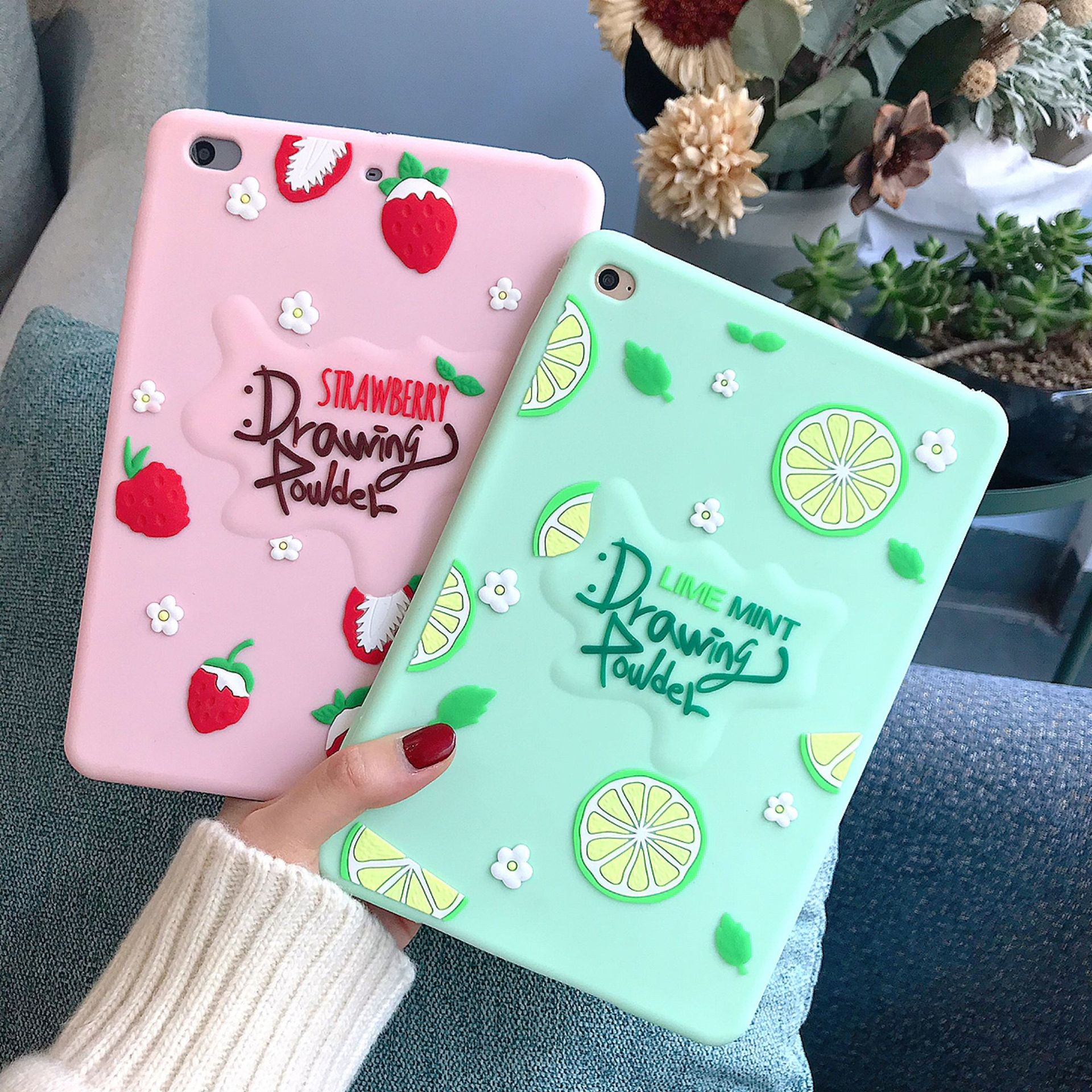 For New IPad 9.7 2017 2018 Case TPU Silicon Fruit Pattern Soft Cover for IPad Air 2 Air 1 6th Generation Strawberry Coque Funda