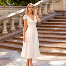 Simple Wedding Dresses Short Cap Sleeve V-Neck Tea-Length A-Line Lace Chiffon Bridal Gowns Civil Bride Dress Vestido De Noiva