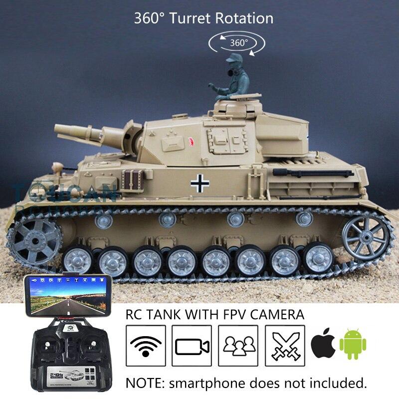 Henglong – roue à chenilles métalliques Panzer IV F RTR RC, réservoir FPV 1/16, personnalisé, 6.0 3858, TH16142