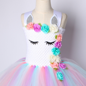 Image 4 - Kwiat dziewczyny jednorożec Tutu sukienka pastelowa tęcza księżniczka dziewczyny sukienka na przyjęcie urodzinowe dzieci dzieci Halloween jednorożec kostium 1 14Y