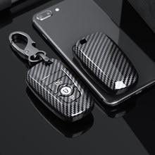 Fibra de carbono abs caso chave do carro para ford mustang 2018 ecosport 3 4 botões inteligente remoto fobs escudo capa chaves saco chaveiro automóvel