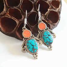 Индийские винтажные красочные серьги ручной работы непальская Медь инкрустированные красочный камень E003