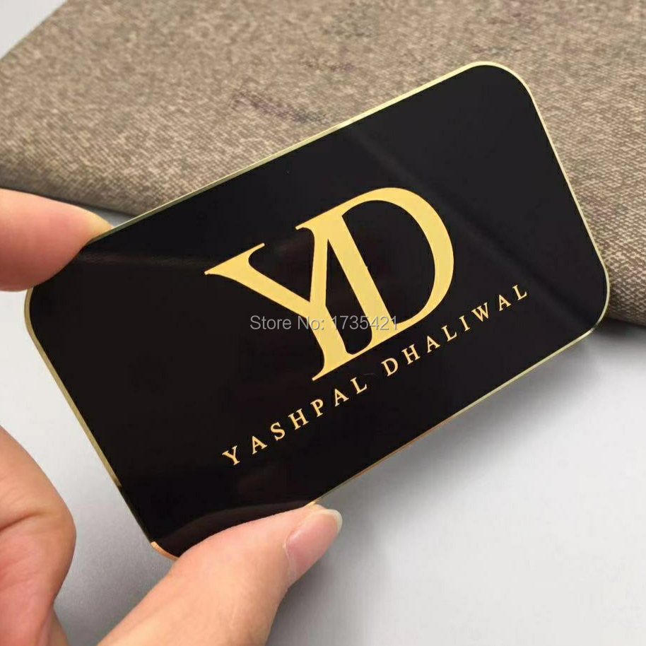 Custom Luxury Silver Gold Reversed Etched Metal Mirror Business Card,Hollow Out Metal Mirror Business Card