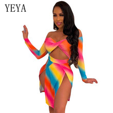 YEYA New Fashion Rainbow Print Dress Sexy Hollow Out Long Sleeve High Split Vintage Women Autumn Tie Dyeing Retro