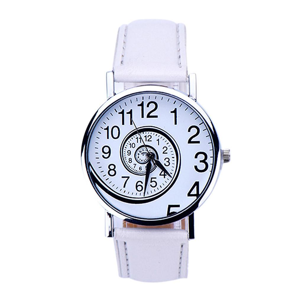 Fashion Couple Watches Swirl Pattern Round Dial Faux Leather Band Analog Quartz Watch Men Women Gifts парные часы