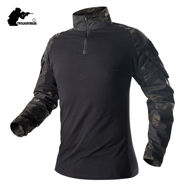 Military Mens Camouflage Tactical T Shirt Long Sleeve Brand Cotton Breathable Combat Frog Tshirt Men Training Shirts BY655