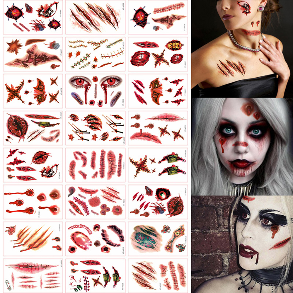 24 Pcs Halloween Temporary Tattoos Stickers Horror Scars Makeup Tattoos Props Art Stickers Tattoo Stickers For Halloween