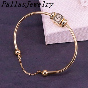 Image 5 - 6Pcs New Hight Quality Gold Color Metal Bangle Inlay Cubic Zirconia 26 Letter Spacer Bead Women Cuff Bangles Bracelets