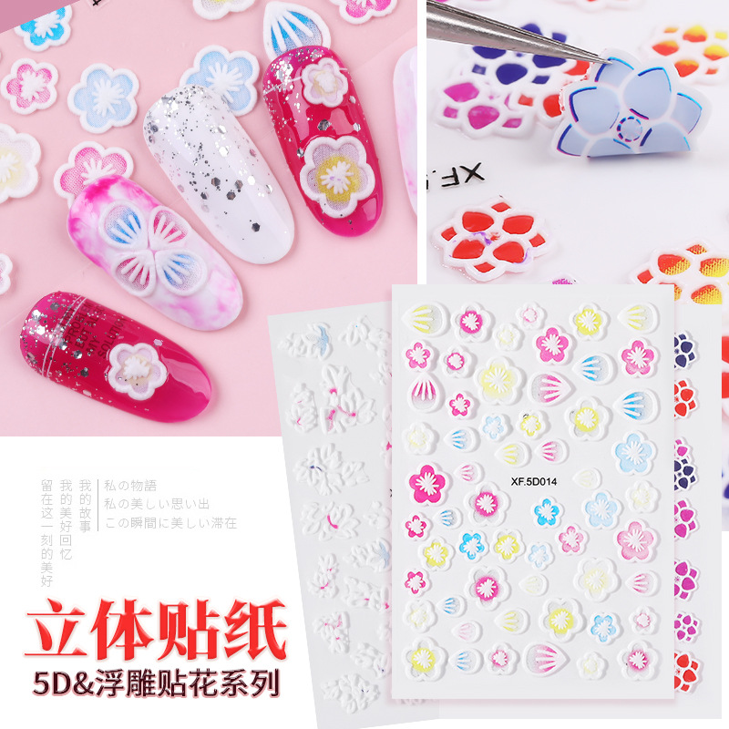 Manicure 5D Stereo Relief Adhesive Paper Flower Nail Decals Nail Sticker 3D Manicure Stickers