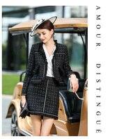 2020 Autumn Winter Tweed 2 Piece Set Women Suits Office Lady Slim Plaid Vintage Elegant Jacket Coat Tops and Mini Skirt Uniform