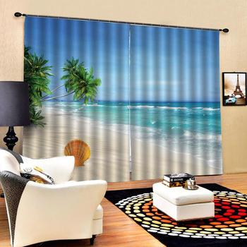 blue beach landscape curtains Customized size Luxury Blackout 3D Window Curtains For Living Room Solid color curtain
