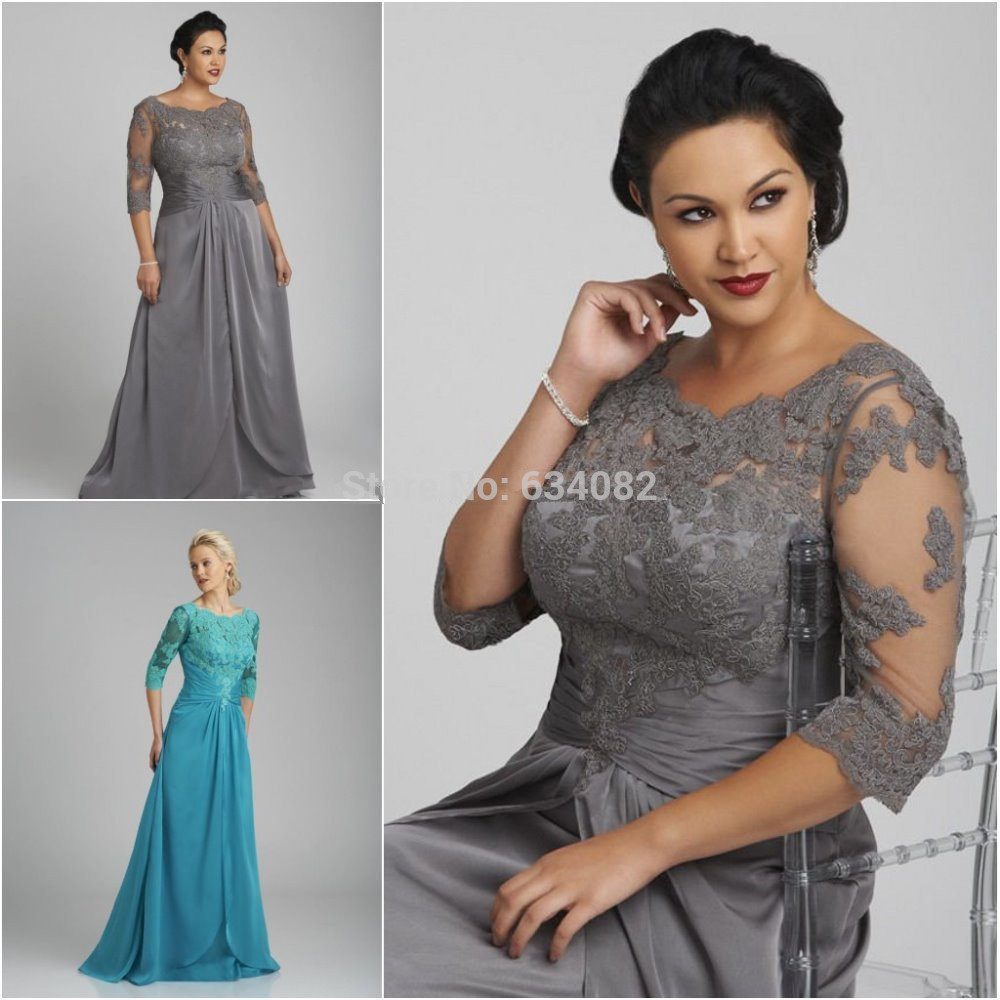 Free Shipping 2015 New Arrival Elegant A-Line Cap Haf Sleeve Lace Appliques Chiffon Long Mother Of The Bride Dresses Vestidos