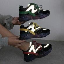 Reflective Platform Sneakers Women Vulcanize Shoes