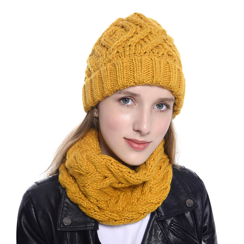Goocheer Women Hat Scarf Set For Girl Wool Knitted Thicken Warm Outdoor 8 Color Lady Hat Girl Female Winter Scarf Cotton Caps