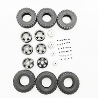 6pcs Modification Easy Install DIY Replacement Toys Parts Wheel Hub Kit Tires Lightweight Rims Metal Mini Spare 4X4